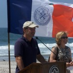 NYC Parks Commissioner Adrian Benepe dedicates a second surfing beach in Rockaway